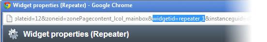 Address bar showing web part ID