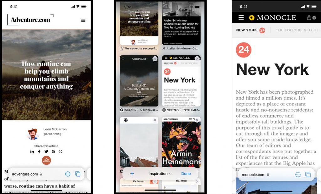 Safari UI on iOS 15