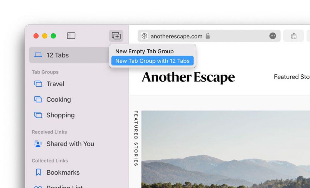 Tab Groups in Safari on macOS Monterey