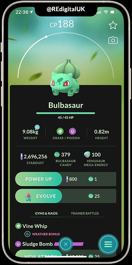 Pokemon GO dark mode concept Bulbasaur screen